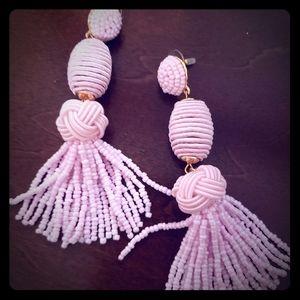Bubble bar long tassel earrings